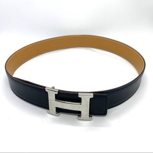 HERMES Black/Brown Reversible Leather H Constance